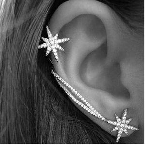 Trendy Fashion Rhinestone Star Ear Cuff Pierced